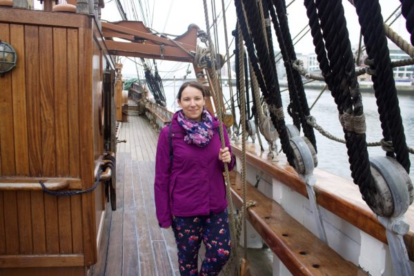 Me on the Jeanie Johnston ship in Dublin_Photo Copyright by Sonja Irani