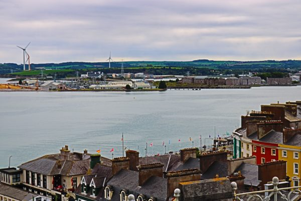 Cobh harbor view from the hill where the church is