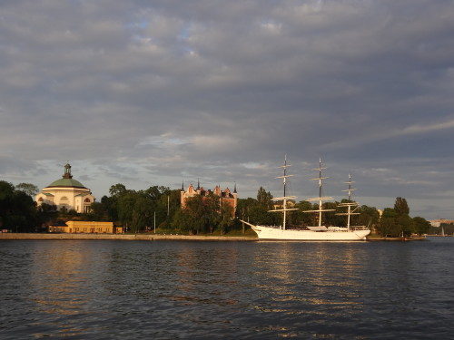 The riverside in Stockholm in evening light