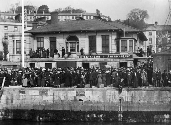 Crowds waiting to embark on the White Star tenders. Photo taken by Father Browne (11 April 1912). Courtesy of Titanic Experience Cobh.